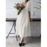 Оригинал S-5XL Vintage Women Solid Color V-Neck Long Sleeve Dress