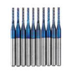 Оригинал Drillpro10шт.2.2/2.4/ 2.5 / 3.0mm Синий NACO с покрытием PCB Бит твердосплавный гравировальный фрезерный станок с ЧПУ Инструмент Поворотные фрезы