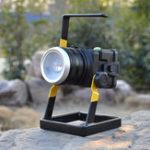 Оригинал 4,2 В Вращающийся Фокус Портативный LED Прожектор Кемпинг Лампа Аккумуляторная