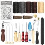 Оригинал 18Pcs Винтаж Кожа Craft Carving Инструмент Набор Шить Швейные Beveler Punch Рабочая рука Набор