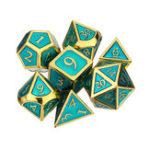 Оригинал Тиснение 7шт. Полиэдральные кубики из тяжелого металла DnD RPG SET C Сумка