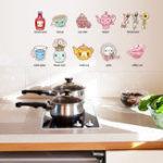 Оригинал МультфильмКухоннаяУтварьСтикерСтеныСъемные Кухонные Декоративные Наклейки Многоцветные ПВХ Наклейки