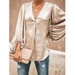 Оригинал Женское Однотонные рубашки с V-образным вырезом