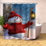 Оригинал НовогоднееукрашениеРождествоСнеговикЗанавескадля душа Моющиеся Эко-Водонепроницаемы Занавес с пластиком Крюк