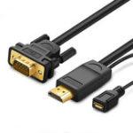 Оригинал Ugreen MM101 Кабель-переходник HDMI-VGA Видеопреобразователь Кабель HDMI с кабелем питания Micro USB для портативных ПК Мониторы HDTV