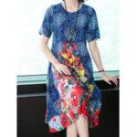 Оригинал Элегантный Женское с цветочным принтом с коротким рукавом Шея Платье