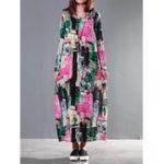 Оригинал Винтаж O-образный вырез с цветочным принтом Loose Baggy Maxi Платье