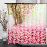 Оригинал CherryBlossom3DFashionШаблонВанная комната Ткань Занавески для душа Украшение дома Водонепроницаемы