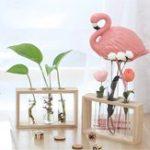 Оригинал Glass Test Трубка Бутылка ваза в деревянной подставке для Растение цветов террариум