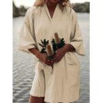 Оригинал Женское Кимоно с боковым карманом из хлопка с половиной рукавов Платье