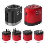 Оригинал CH-118 Международный универсальный адаптер питания Travel Converter Dual USB Зарядное устройство AU / Великобритания / США / ЕС