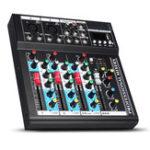 Оригинал 4-канальный USB Bluetooth Audio Mixer Портативная консоль микширования Live Studio