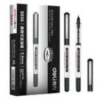 Оригинал DELI S656 Direct Liquid Ballpoint Ручка Офис 0.5мм Подпись Ручка Студенческий экзамен Углерод Ручка 12 шт. В упаковке