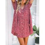 Оригинал Цветочная печатная пуговица Boho Mini Платье
