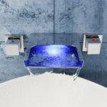 Оригинал LED Водопад Ванная комната Смесители для раковины с краном Настенный ручной наполнитель для ванны Двойные ручки для душа