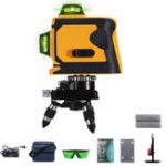 Оригинал 12 Line Лазер Уровень Самовыравнивающийся 3D 360 ° Поворотный зеленый крестик + Штатив