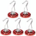 Оригинал Effetool 5pcs 42mm Red Magnetic Rotating Swing Hook Magnet 90lb Neodymium Magnet Hangers