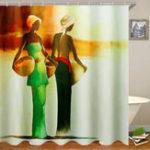 Оригинал 3DВаннаякомнатаЗанавескадлядуша African Woman Занавеска для душа Black Girl Ванная комната Водонепроницаемы Полиэстер Ткань для ванной Декор 12
