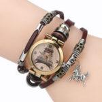 Оригинал Золотая Эйфелева башня Шаблон Браслет Женское Кварцевые часы