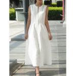 Оригинал Женское Сплошной цвет без рукавов с V-образным вырезом на спине и молнии Платье