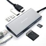 Оригинал Maibenben 8-в-1 от Type-C до 3-портового USB 3.0 PD Зарядка 100 Мбит / с RJ45 4K Дисплей SD TF Card Reader Hub