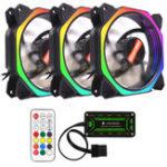 Оригинал Coolmoon 3шт 12см многослойный охлаждающий вентилятор с подсветкой RGB с контроллером IR для настольных ПК