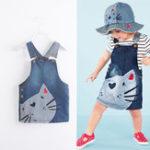 Оригинал Girl Cute Кот Джинсовые лямки с принтом Платье
