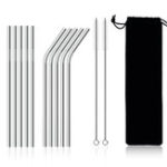 Оригинал 10Pcs Stainless Steel Metal Drinking Straw Reusable Straws Set Cleaner Brush Kit With Pounch