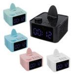 Оригинал 2 в 1 Беспроводная стереосистема Bluetooth 5.0 Динамик Dual Alarm Часы Сабвуфер Hi-Fi музыкальный плеер с держателем телефона Поддержка FM Радио TF карта AU