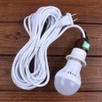 Оригинал AC220V E27 5W Pure White Emergency LED Light Bulb with 5M Cable Line US Plug for Outdoor Camping