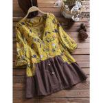 Оригинал Женское Блуза с V-образным вырезом с цветочным принтом