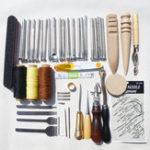 Оригинал 59Pcs DIY Кожа Набор Набор Ручная строчка Швейная машина Punch Carving Печать Набор для рукоделия