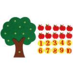 Оригинал Apple Tree Match Цифровые игрушки для обучения математике Монтессори Образовательные нетканые детские