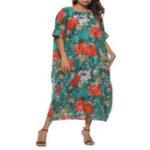 Оригинал Плюс Размер Цветочный принт O-образным вырезом Batwing рукавом Baggy Платье