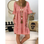 Оригинал S-5XL Women Loose Floral Print Short Sleeve Dress