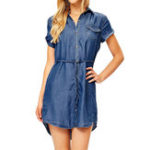Оригинал Женская пуговица джинсовая нерегулярная Рубашка Платье