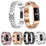 Оригинал Часы из нержавеющей стали с кристаллами Стандарты для ремешка Fitbit Charge 3 Smart Watch