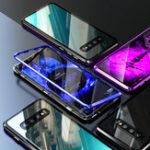 Оригинал МагнитнаяадсорбцияизалюминиевогосплаваБампер Закаленное стекло Задняя крышка Защитная Чехол Для Samsung Galaxy S10