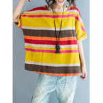 Оригинал Casual Stripe O-neck Batwing Sleeve Women Loose T-shirts