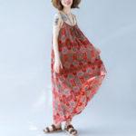 Оригинал Swing Hem Boho Maxi Цветочные платья без рукавов