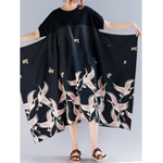 Оригинал Women Vintage Printed Short Sleeve Patchwork Baggy Dress