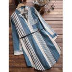 Оригинал Длинный рукав в полоску большого размера Женское Длинная хлопковая блузка