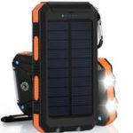 Оригинал 20000mAh Солнечная зарядка Power Bank SOS Mode Портативный сотовый телефон Солнечная Зарядное устройство с двумя USB-портами для зарядки LED Фонарик Кар
