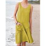 Оригинал Casual Women Solid Color Sleeveless Dress with Pockets