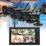 Оригинал 4шт цифровой беспроводной видеонаблюдения камера Водонепроницаемы 7 дюймов LCD Монитор Видеорегистратор запись домашней системы безопасно
