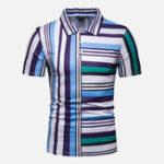 Оригинал Мужские Colorful полосатые печатные удобные рубашки для гольфа