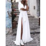 Оригинал Pure Color V Шея Высокий разрез с подолом Пляжный Long Maxi Платье
