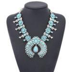 Оригинал Богемия Бирюзовый Цветочное Ожерелье