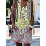 Оригинал Женская безрукавка с круглым вырезом Богемный цветочный принт Mini Платье