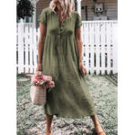 Оригинал Women Short Sleeve V Neck Button Solid Color Casual Dress